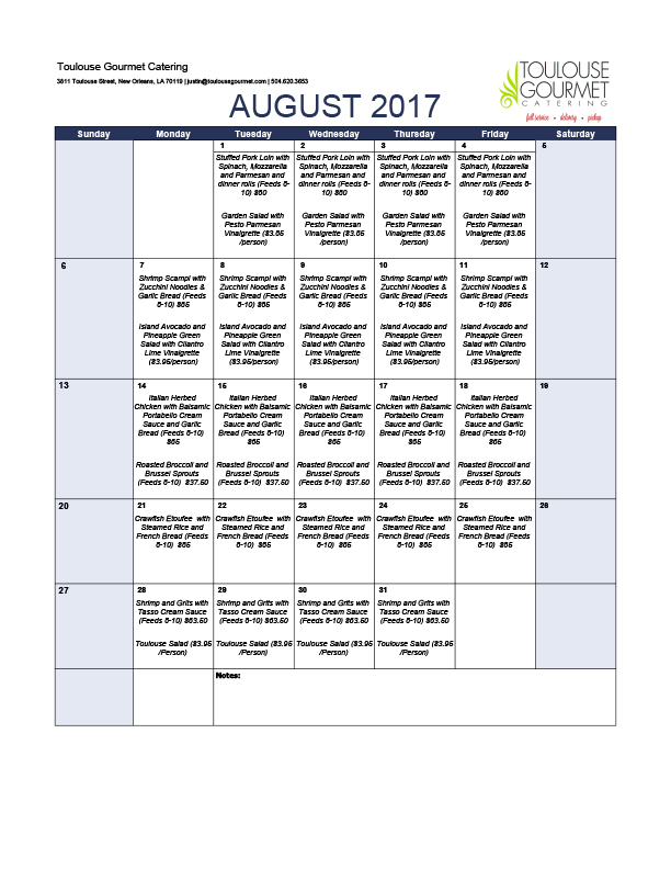 August 2017 Monthly Catering Delivery Specials